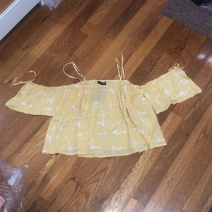 FOREVER 21 yellow cold shoulder top